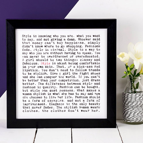 Style Wise Words Quotes Print