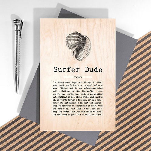 Surfer Dude Personalised Wooden Keepsake Card