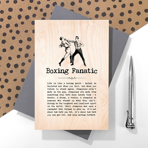 Boxing Fanatic Personalised Wooden Keepsake Card