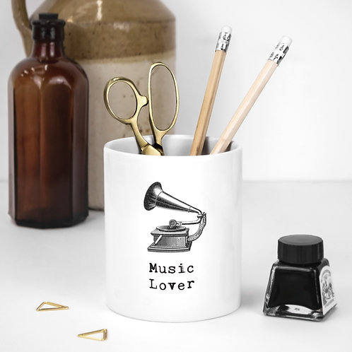 Music Lover White Ceramic Pen Pot with Quotes