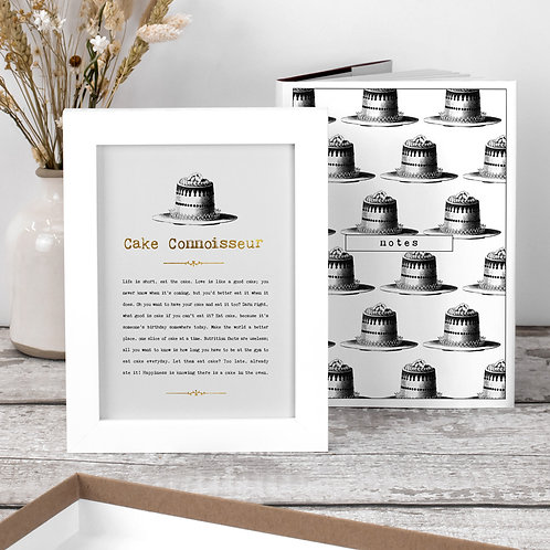 Cake Birthday Gift Set with Notebook and Print