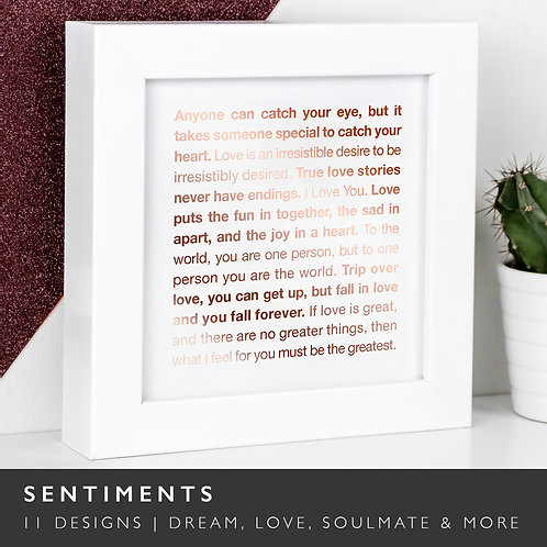 Wise Words SENTIMENTS Copper Framed Prints x 3
