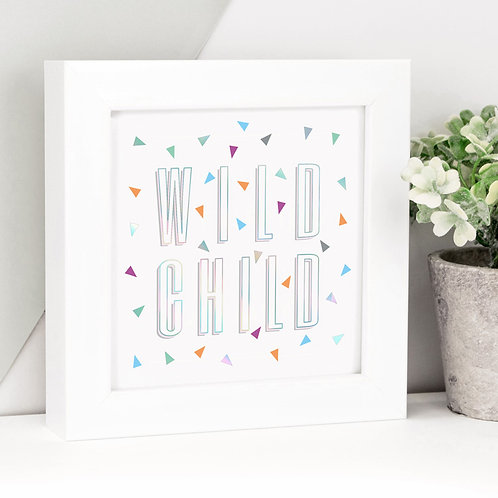 Wild Child Framed Holographic Foil Print