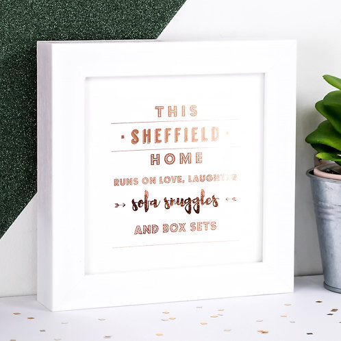 Sofa Snuggles Rose Gold Framed Print x 3
