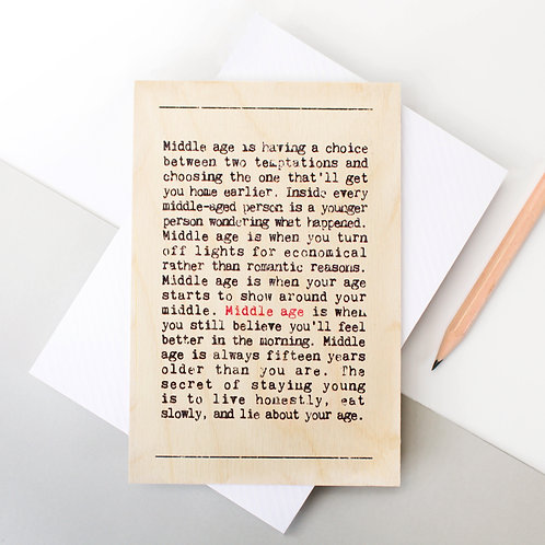 Wise Words Middle Age Wooden Card x 6