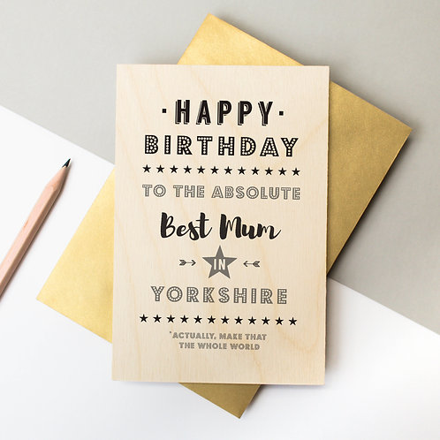 Birthday Personalised Wooden Keepsake Card x 6
