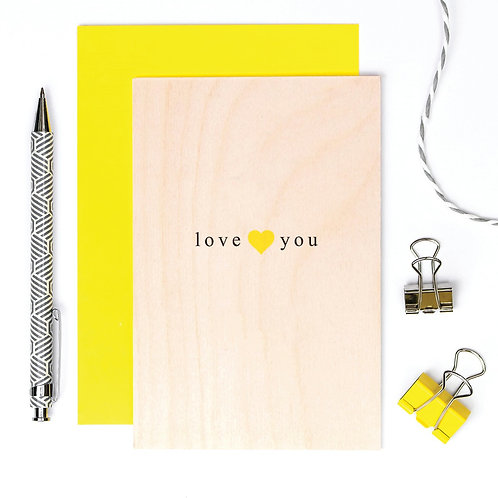 Love You Wooden Keepsake Card