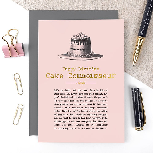 Cake Connoisseur Luxury Foil Birthday Card with Quotes