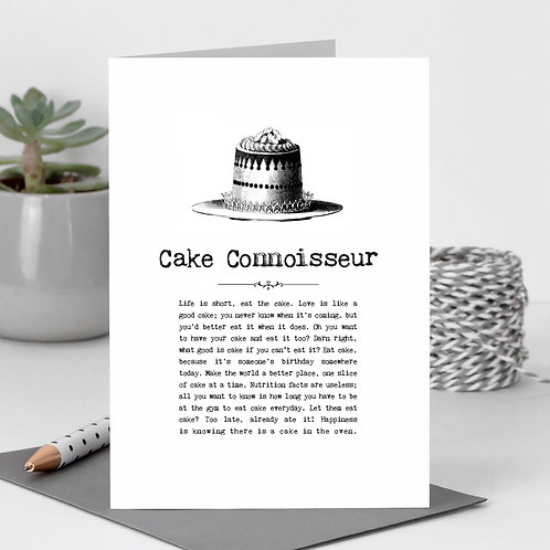 Cake Connoisseur Vintage Words Greeting Card x6