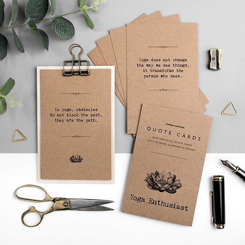 Yoga Quote Cards with Wooden Clipboard