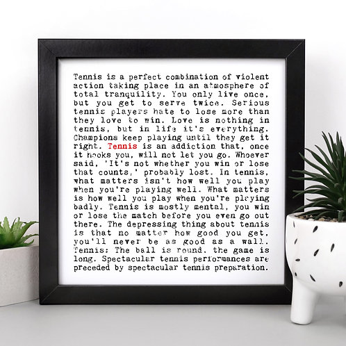 Tennis Quotes Personalised Print for Sports Fans