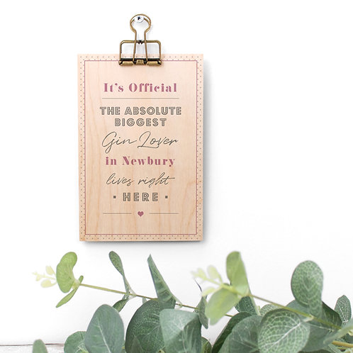 Favourite Hobby Pink Wooden Plaque with Hanger x 3