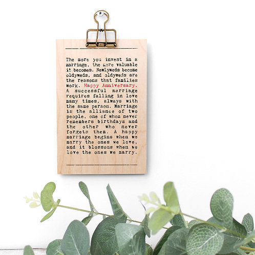 Anniversary Quotes Gift Wooden Sign with Hanger