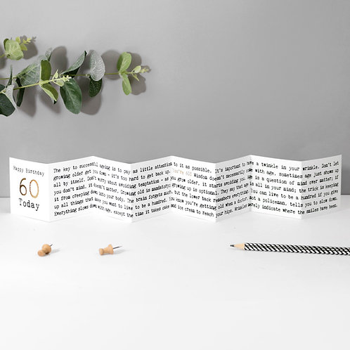 60th Birthday Mini Fold Out Greeting Card