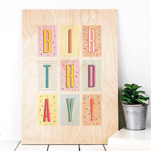 Birthday! Geometric Wooden Party Plaque