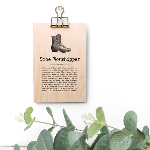 Shoe Quotes Wooden Sign with Hanger