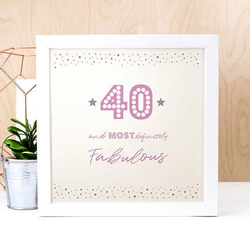 40th Birthday Pearl Typographic Art Print