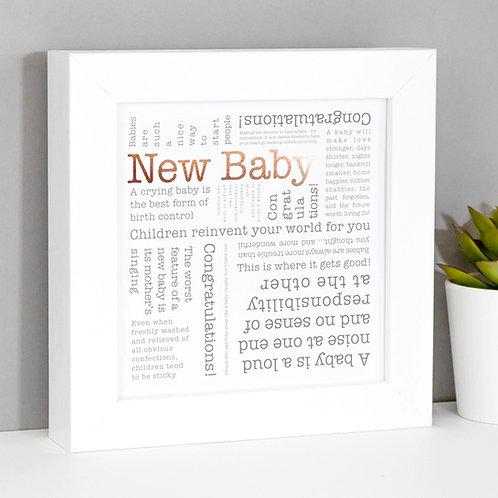 New Baby Framed Copper Foil Print