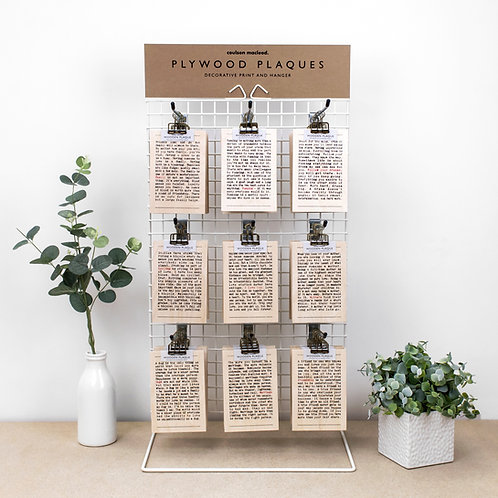 29 Packs of Hanging Wooden Plaques + FREE POS Unit
