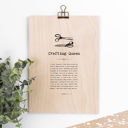 Crafting Queen Wooden Sign with Hanger