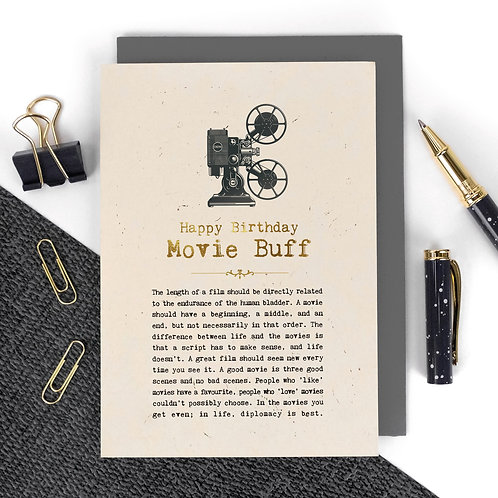 Movie Buff Luxury Foil Birthday Card with Quotes