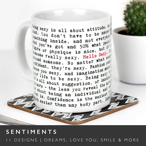 Wise Words LOVE and SENTIMENT Mugs (12 Designs) x 3