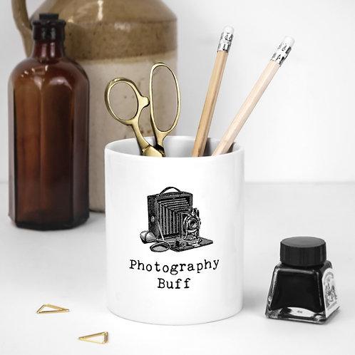 Photographers White Ceramic Pen Pot