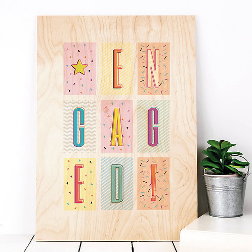 Engaged! Geometric Wooden Party Plaque