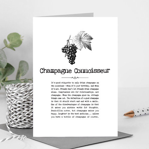 Champagne Connoisseur Vintage Words Greeting Card x6