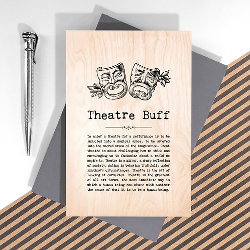 Theatre Buff Personalised Wooden Keepsake Card