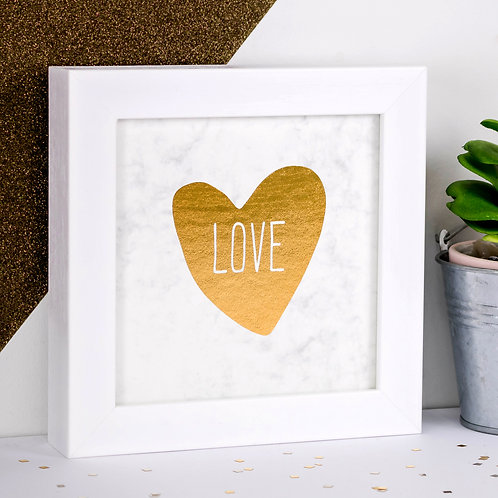 LOVE Gold Foil Framed Marble Print x 3
