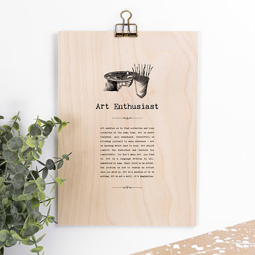 Art Lover Wooden Sign with Hanger for Artists