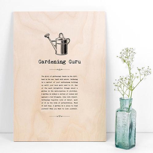 Gardening Guru A4 Wooden Quotes Plaque x 3