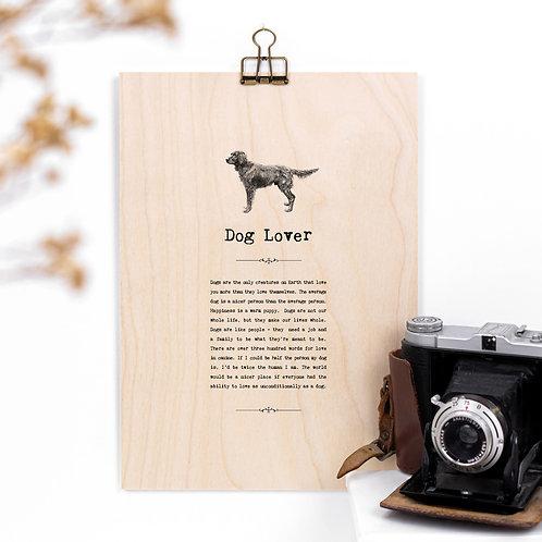 Dog Lover Wooden Sign with Hanger
