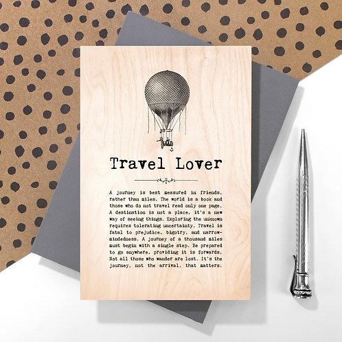 Travel Lover Wooden Keepsake Card for Backpackers
