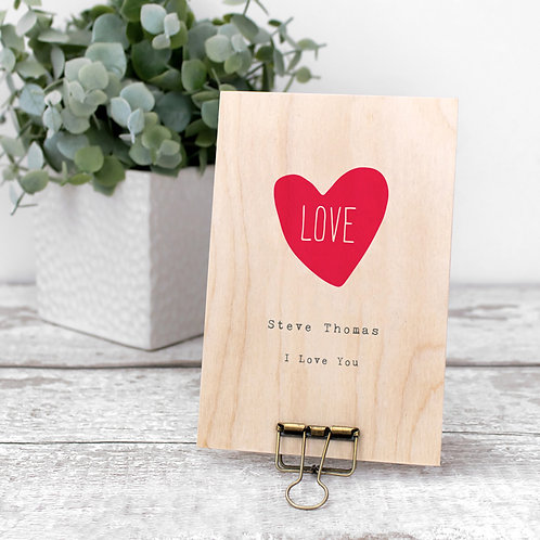 Love Heart Personalised Mini Wooden Sign