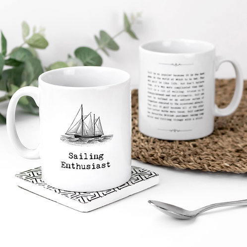 Sailing Enthusiast Vintage Words Quotes Mug x 3