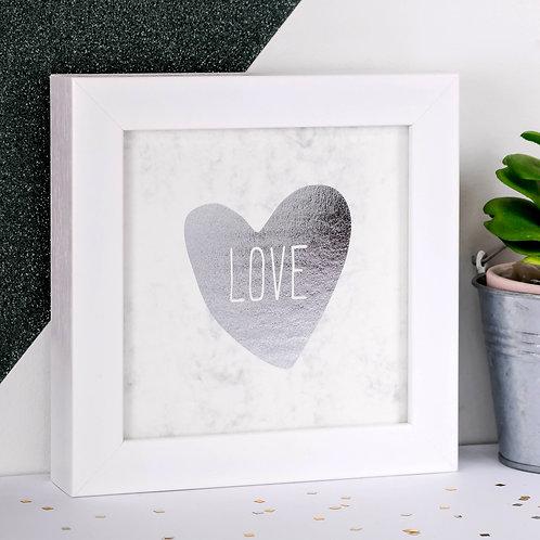 LOVE Silver Foil Framed Marble Print x 3