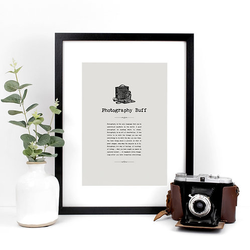 Photography Buff A4 Quotes Print for Photographers