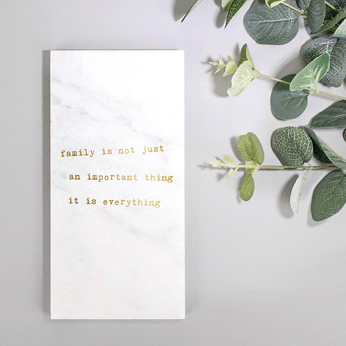 Family Is Everything Metallic Marble Plaque