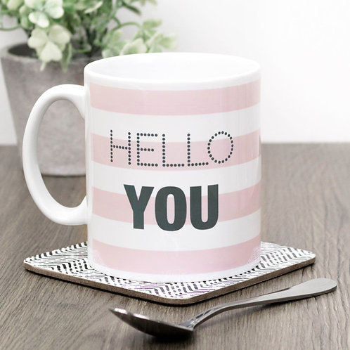Hello You | Pink Stripe Mug