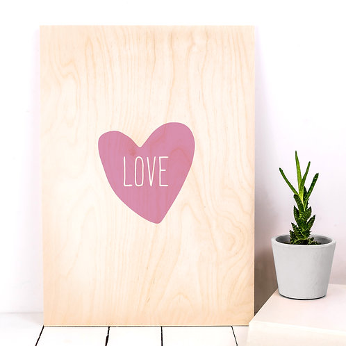 Pink Love Heart A4 Wooden Plaque Print x 3