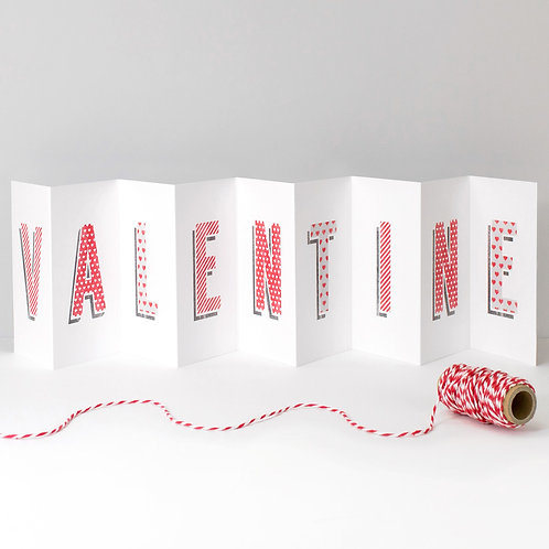 Valentine Love Heart Concertina Banner Card