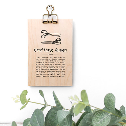 Crafting Quotes Wooden Sign with Hanger