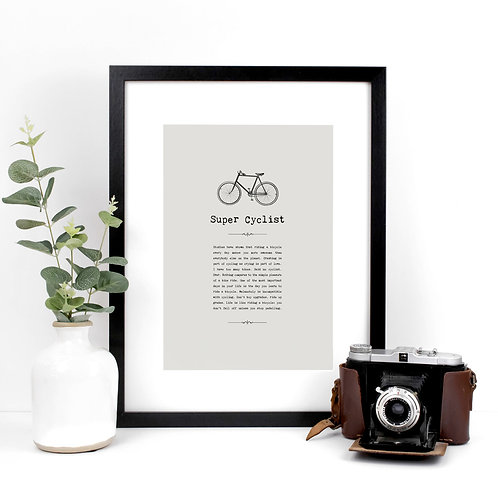 Super Cyclist Personalised A4 Grey Quotes Print