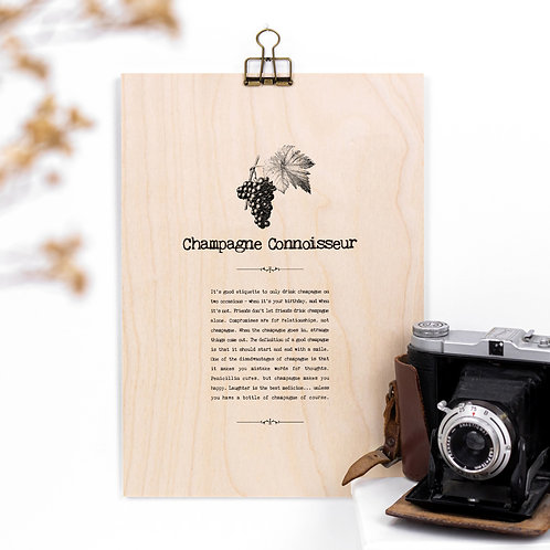 Champagne Connoisseur Wooden Sign with Hanger