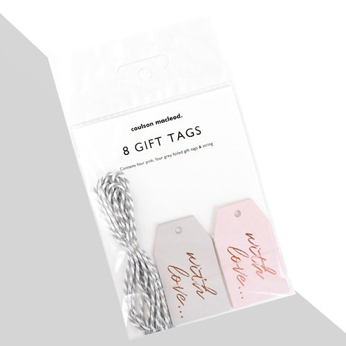 Pack of 8 Rose Gold 'With Love' Gift Tags x 3