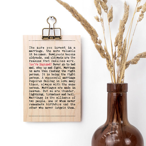 Engagement Quotes Wooden Sign with Hanger