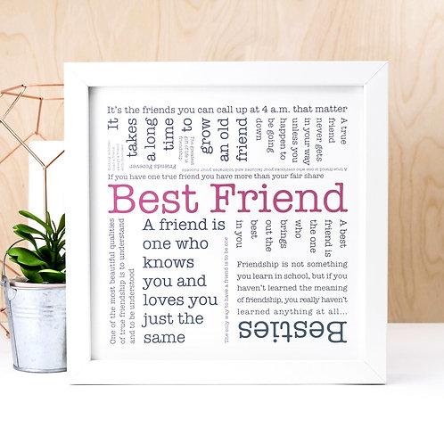 Best Friend Word Cloud Print x 3