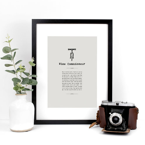 Wine Vintage Grey A4 Quotes Print x 3